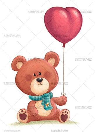 Illustration of teddy bear with heart shaped balloon 1