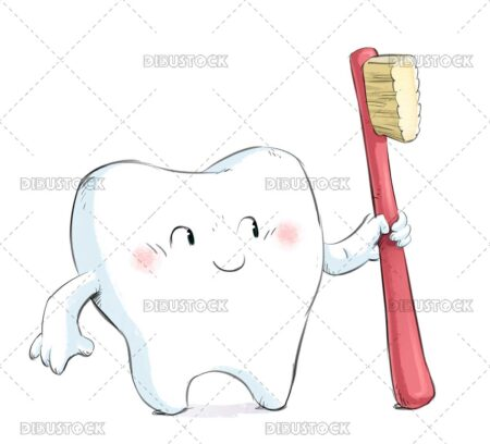Illustration of tooth with toothbrush