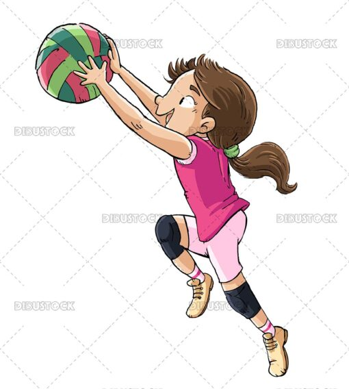 Illustration of volleyball player jumping with ball