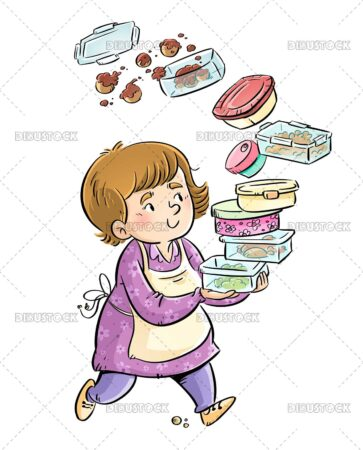 Illustration of woman with lunch boxes