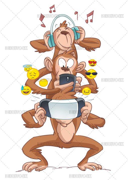 illustration of monkeys using different technologies