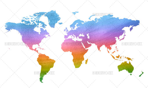 Colorful world map illustration in watercolor