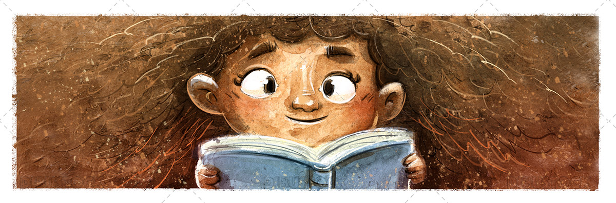 Illustration of African American Little Girl Reading a Book
