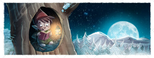 Illustration of Gnome reading a book at night