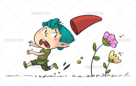Illustration of Gnome running scared