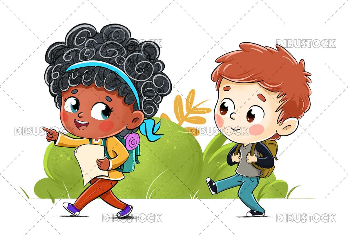 Illustration of a boy and a girl going hiking or camping 1