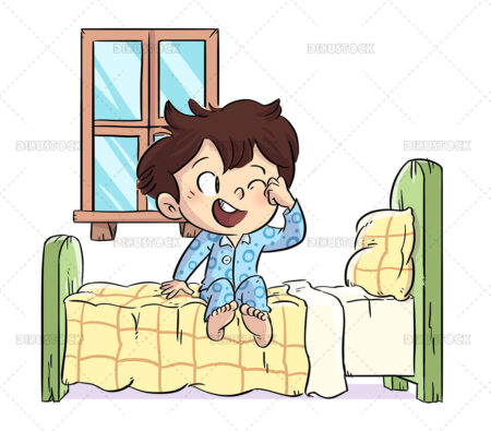 Illustration of a boy just out of bed