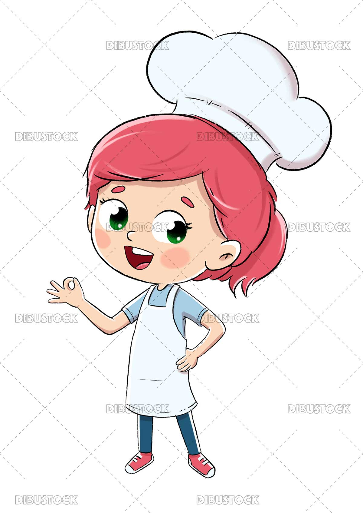 Illustration of a cook or chef girl with ok sign