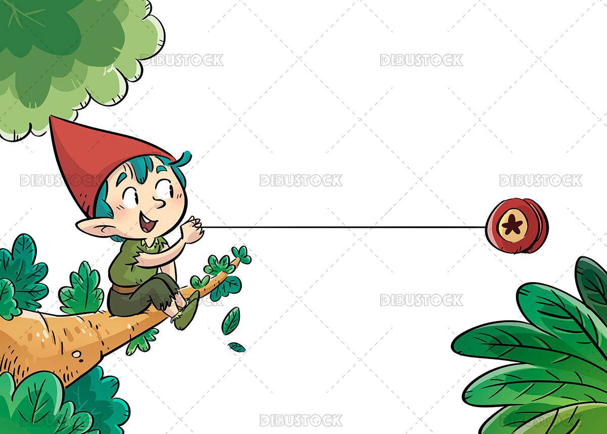 Illustration of a gnome playing in a tree