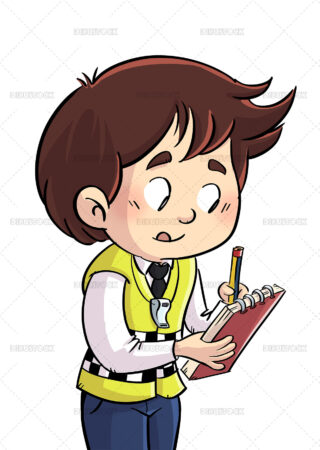Illustration of a kid policeman issuing a fine