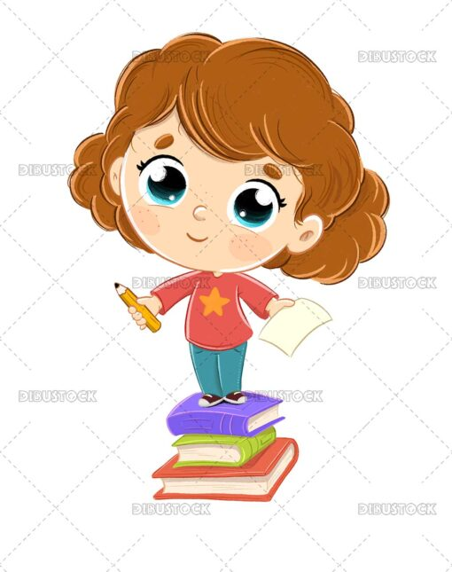 Illustration of an adorable little girl on a pile of books with a pencil and a sheet of paper.