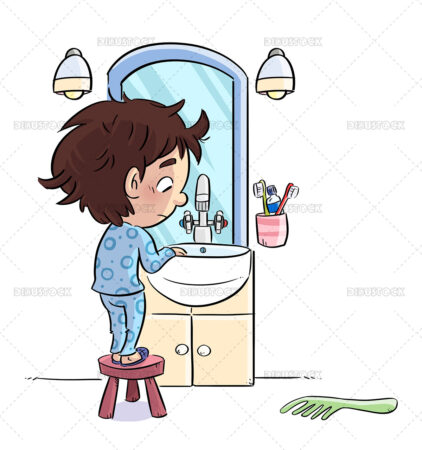 Illustration of boy in the sink in front of the mirror