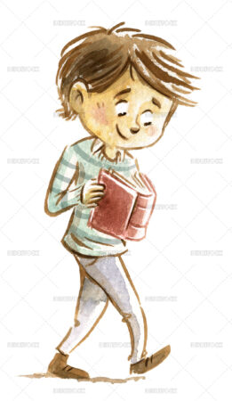 Illustration of boy walking and reading a book