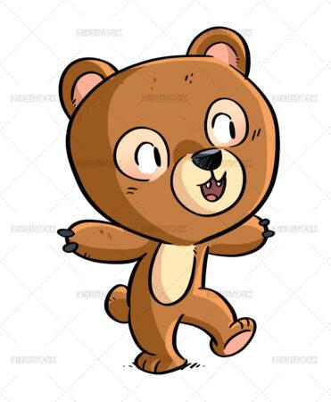 Illustration of boy wearing a bear costume