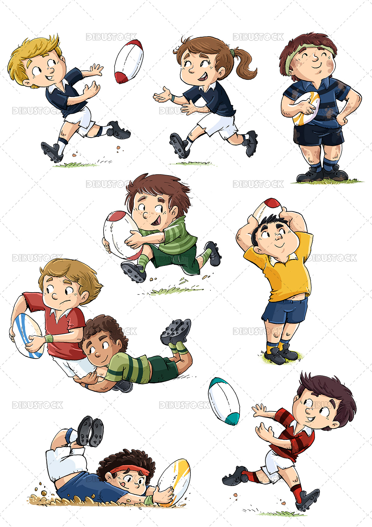 Illustration of children Rugby players in different poses
