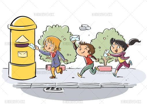 Illustration of children carrying a letter to the mailbox