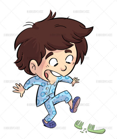 Illustration of disheveled boy stepping on a comb