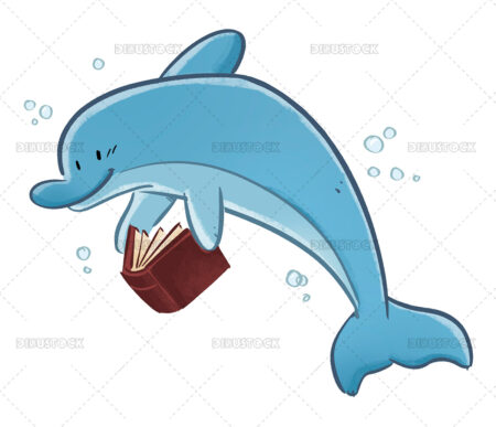 Illustration of dolphin reading a book