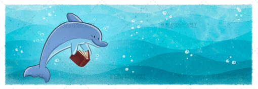 Illustration of dolphin reading on the background of the sea