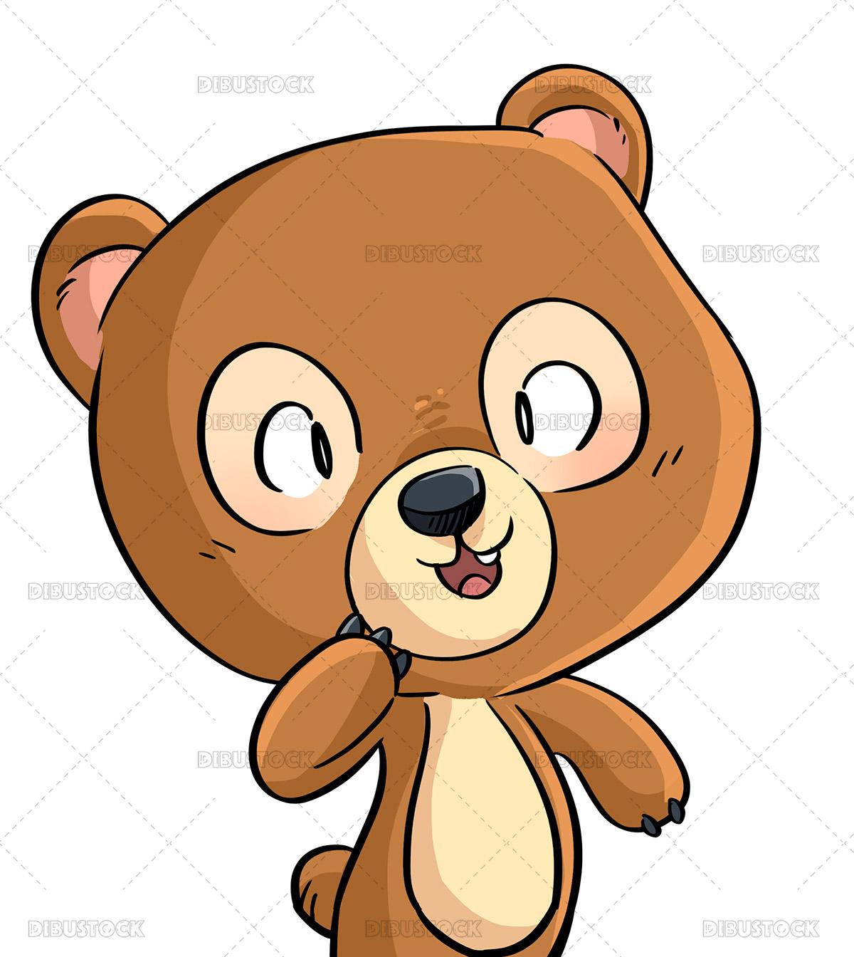 Illustration of happy kid wearing a bear costume