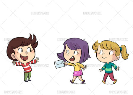 Illustration of kids carrying an envelope with a letter