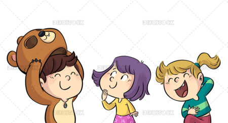 Illustration of kids dressing up in costumes