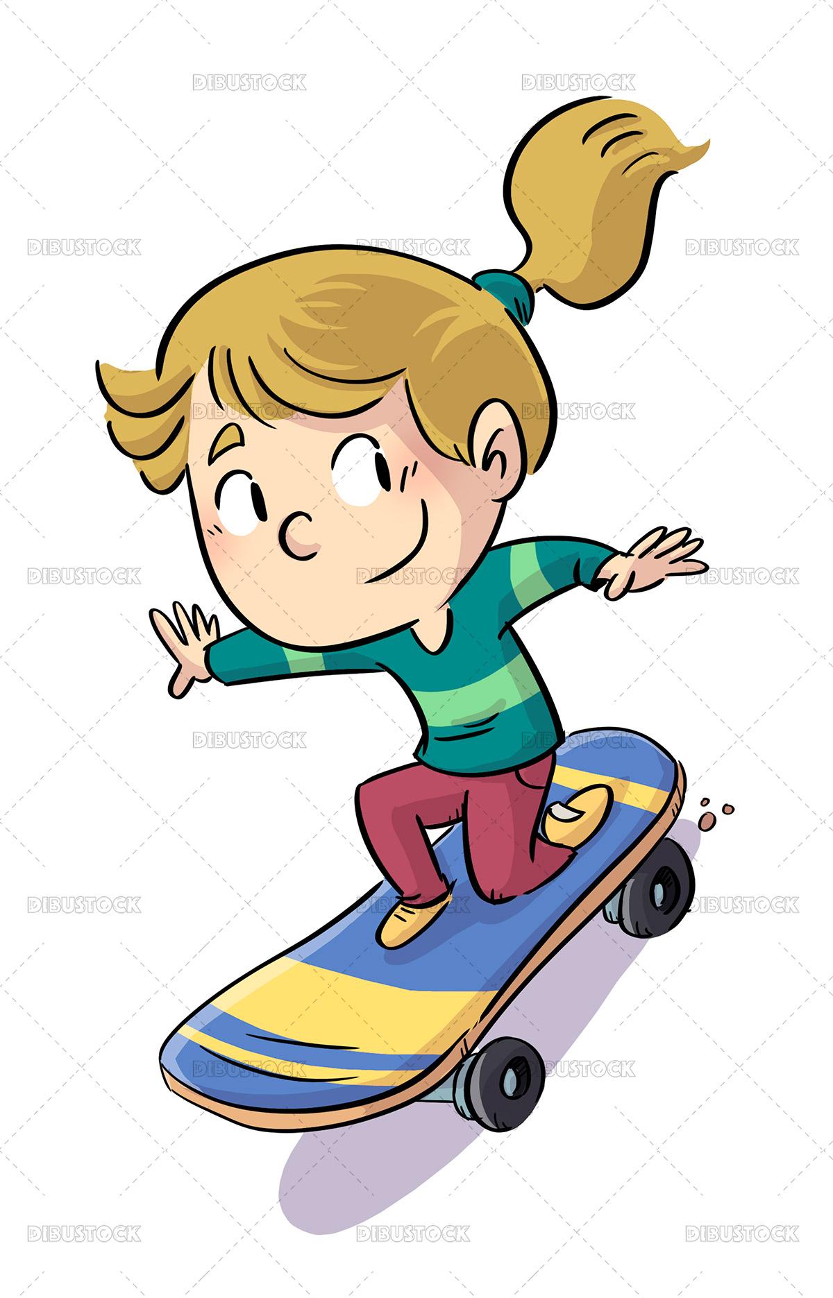 Illustration of little girl on a skateboard