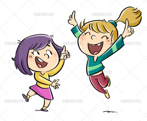 Illustration of little girls jumping and pointing