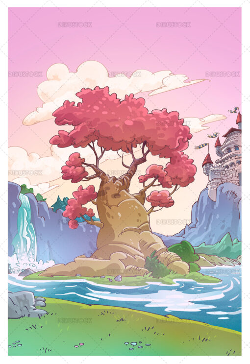 Illustration of magic background with castle and tree
