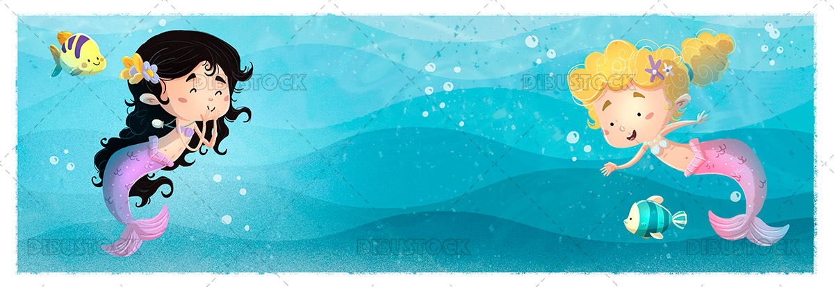 Illustration of sirens under the sea
