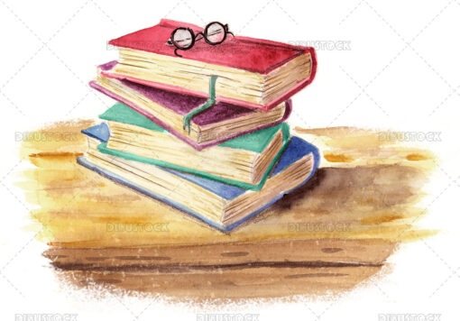 Illustration of stacked books with glasses