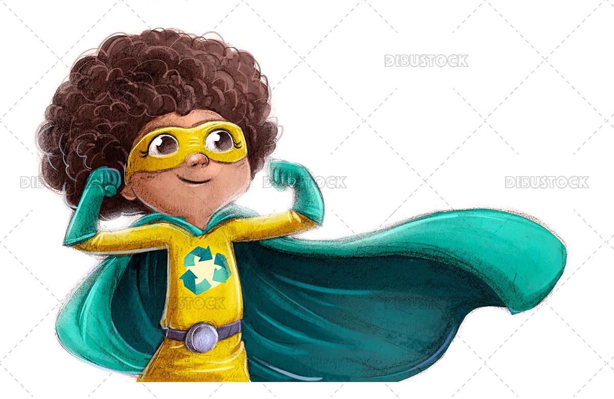 Illustration of superhero girl fighting for the environment