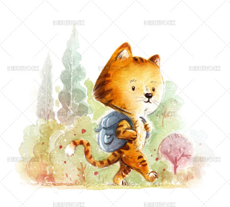 Illustration of tiger with school bag