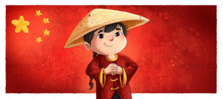 Illustration of traditional chinese boy with flag of china