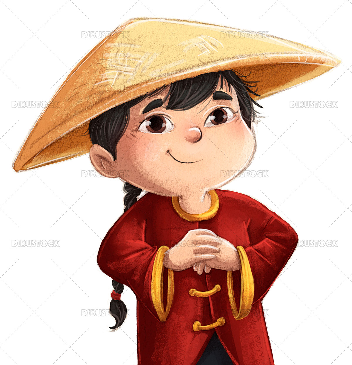 Illustration of traditional chinese boy with hat