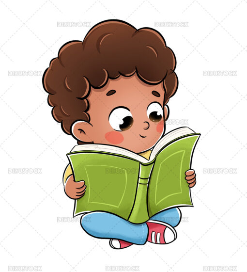 Reading boy sitting on the floor with a book