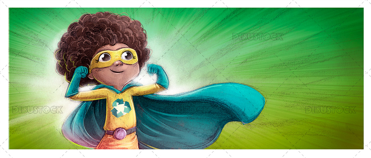 Recycling superhero girl illustration
