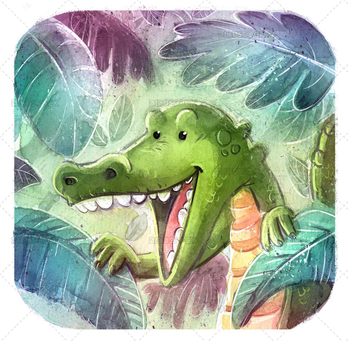 Watercolor illustration of crocodile in the jungle