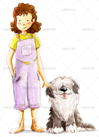 Watercolor illustration of girl with her dog