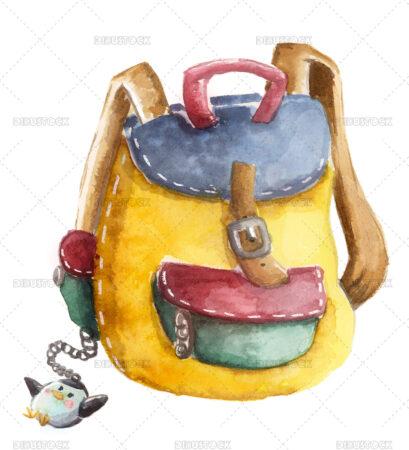 Watercolor kids backpack illustration