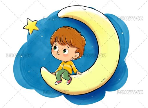 illustration of a boy sitting on the moon looking at a star