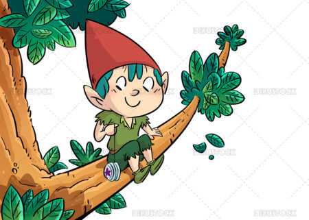 illustration of a gnome climbing a tree