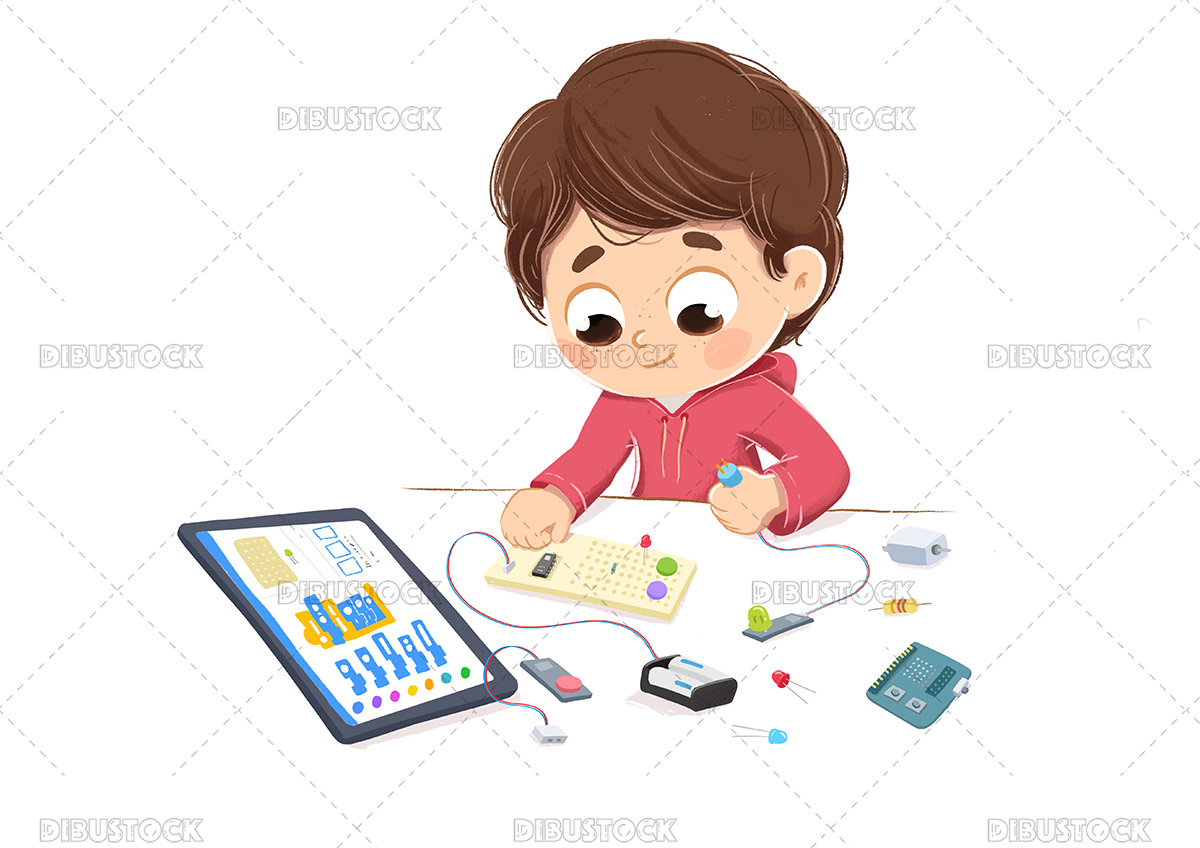 illustration of a kid making inventions with an electronics kit learning
