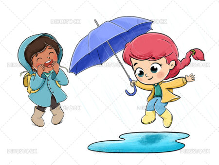 Girls playing in the rain jumping in a puddle