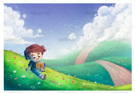 Illustration of a boy who is reading in a meadow with flowers