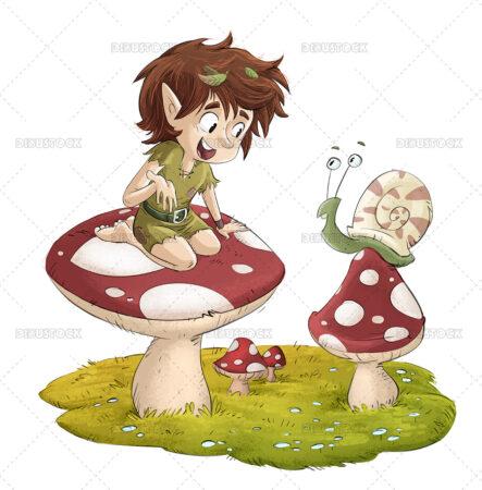 Illustration of a leprechaun on a mushroom talking to a snail