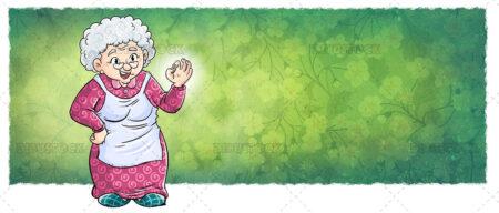 Illustration of elderly grandmother doing the ok symbol with her hands