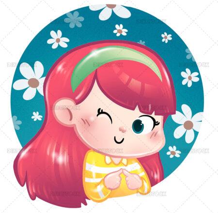 Illustration of funny little girl winking