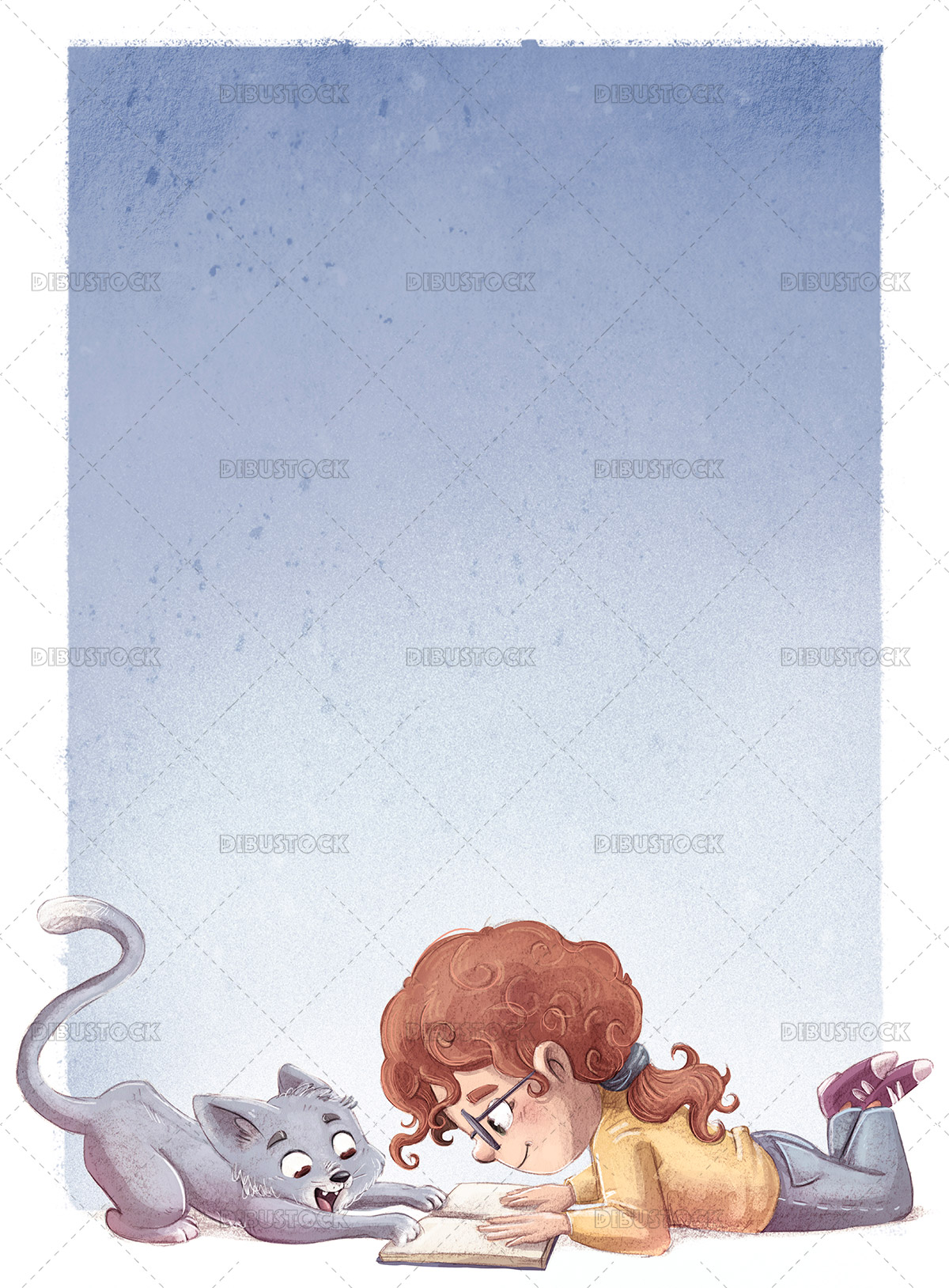Illustration of girl reading a book with her cat lying down