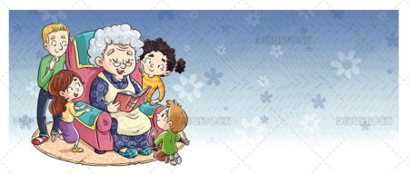 Illustration of grandmother reading a book surrounded by children